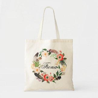 Personalisierter BlumenWreath Braidsmaid, Welcome3 Tragetasche