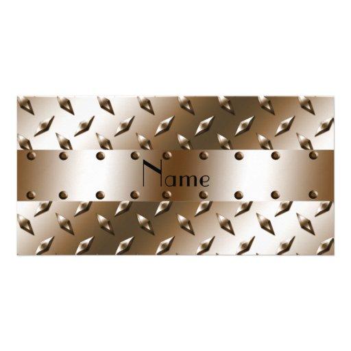 Personalisierter brauner Diamantplattennamensstahl Photo Grußkarte
