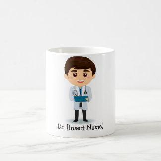 Personalisierter brünetter männlicher Doktor Kaffeetasse