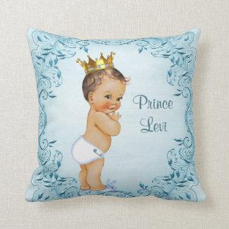 Personalisierter brünetter Prinz Blue Leaves Kissen