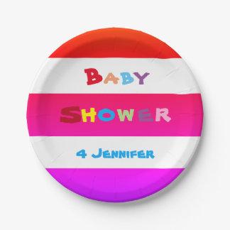 PERSONALISIERTER bunter BABY-DUSCHE Papier-Teller Pappteller