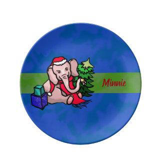 Personalisierter bunter WeihnachtsCartoon-Elefant Porzellanteller