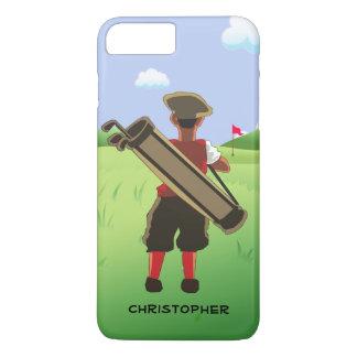 Personalisierter Cartoongolfspieler auf Golfkurs iPhone 8 Plus/7 Plus Hülle