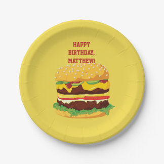 Personalisierter Cheeseburger-Party-Papier-Teller Pappteller