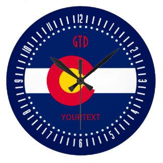 Personalisierter Colorado-Staats-Flaggen-Entwurf Große Wanduhr