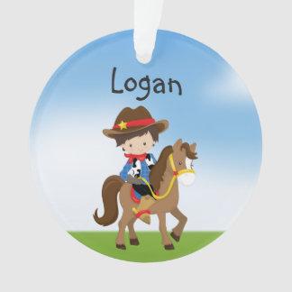 Personalisierter Cowboy auf Pferdeverzierung Ornament