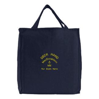 Personalisierter Deckarbeiter und Bootsname Bestickte Tasche