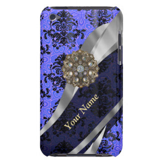 Personalisierter dunkelblauer Vintager Damast iPod Touch Cover