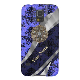 Personalisierter dunkelblauer Vintager Damast Samsung S5 Hülle
