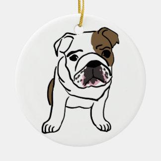 Personalisierter englischer Bulldoggen-Welpe Rundes Keramik Ornament