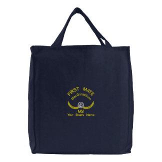 Personalisierter erster Kamerad- und Bootsname Bestickte Einkaufstasche