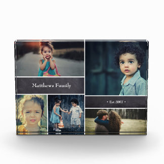 Personalisierter Familienname, 5 Foto-Collage Fotoblock