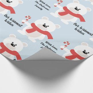 Personalisierter festlicher Bär Geschenkpapier