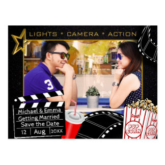 Personalisierter Filmstar Save the Date Postkarte