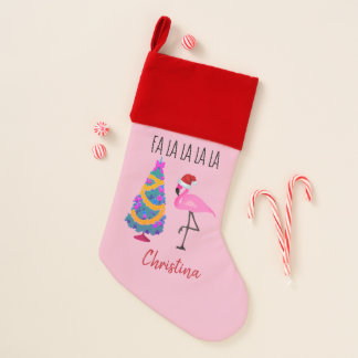 Personalisierter Flamingo-Sankt-WeihnachtsStrumpf Weihnachtsstrumpf