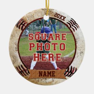 Personalisierter FOTO Baseball verziert NAMEN, Rundes Keramik Ornament