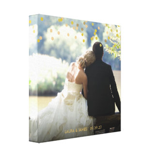 Personalisierter Foto-GoldConfetti Leinwanddruck