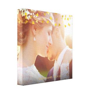 Personalisierter Foto-GoldherzenConfetti Leinwanddruck