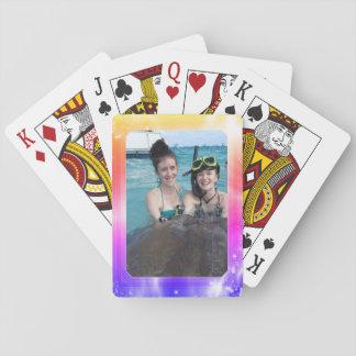 Personalisierter Foto-Rahmen-heller Girly Pastell Spielkarten
