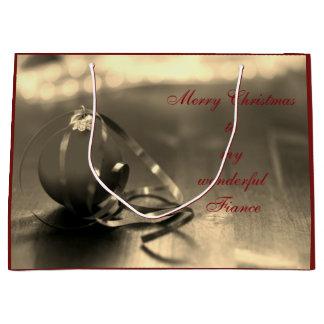 Personalisierter frohe Weihnacht-Verlobteentwurf Große Geschenktüte