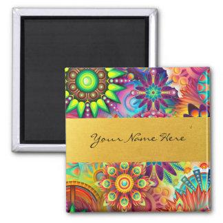 Personalisierter Funky Boho Blumenflammen-Mandalas Quadratischer Magnet