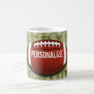 Personalisierter Funky grüner Grunge-Fußball Tasse