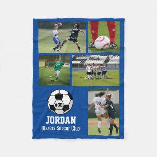 Personalisierter Fußball-Ball-Foto-Collagen-Name # Fleecedecke
