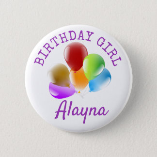 Personalized Birthday Girl Button