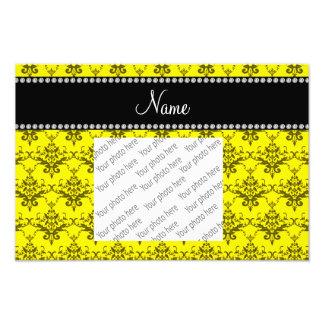 Personalisierter gelber Namensdamast Fotodruck