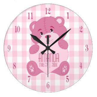 Personalisierter girly Teddybär mit Namen und Große Wanduhr