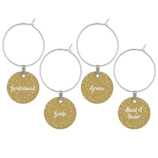 Personalisierter goldener HerzenConfetti Glasmarker