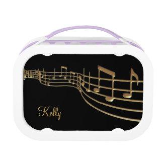 Personalisierter GoldMusiknoten-Mittagessen-Kasten Brotdose