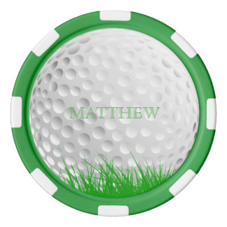 Personalisierter Golf-Ball in der Gras-Markierung Poker Chips Set
