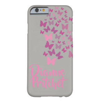 Personalisierter grauer und rosa Schmetterling Barely There iPhone 6 Hülle