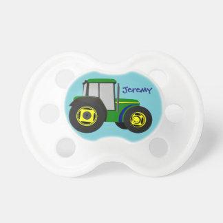 Personalisierter grüner Bauernhof-Traktor Baby Schnuller