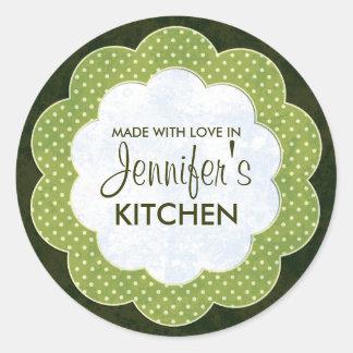 Personalisierter grüner Blumenpunkt-einmachende Runde Sticker