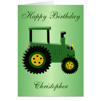 Personalisierter grüner Traktor-Geburtstag Karte