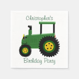 Personalisierter grüner Traktor-Geburtstag Papierserviette