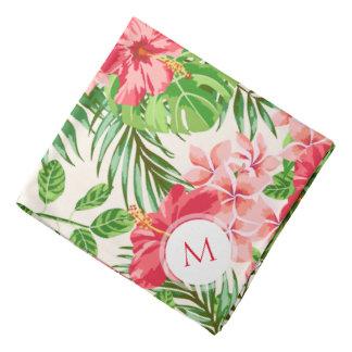 Personalisierter Hibiskus-Blumen-MonogrammBandana Kopftuch