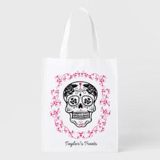 Personalisierter Hipster-Zuckerschädel-Trick oder Wiederverwendbare Einkaufstasche