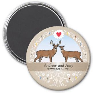 Personalisierter Hochzeits-Datums-Jahrestag, Runder Magnet 7,6 Cm