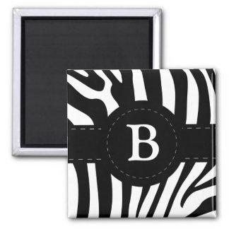 Personalisierter Initiale B Zebra stripes Magneten Quadratischer Magnet