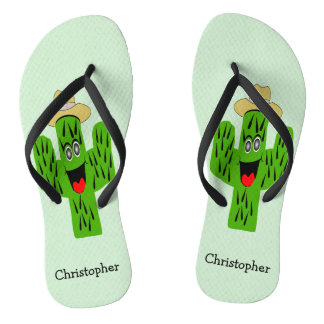 Personalisierter Kaktus-Entwurf Flip Flops