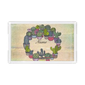 Personalisierter KaktusWreath Acryl Tablett