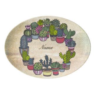 Personalisierter KaktusWreath Porzellan Servierplatte