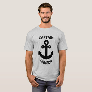 Personalisierter Kapitän Black Anchor T-Shirt