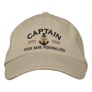Personalisierter Kapitän Nautical Star Anchor Bestickte Kappe