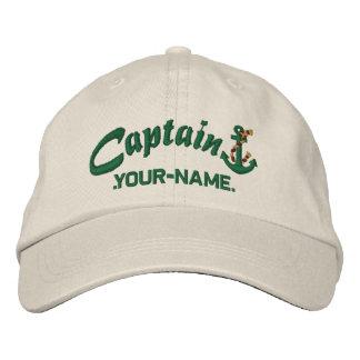 Personalisierter Kapitän Rope Anchor Name Green Bestickte Baseballkappe