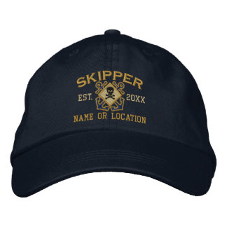 Personalisierter Kapitän-Seeknochen-Schädel Bestickte Kappe