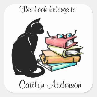Personalisierter Katzen-und Quadratischer Aufkleber